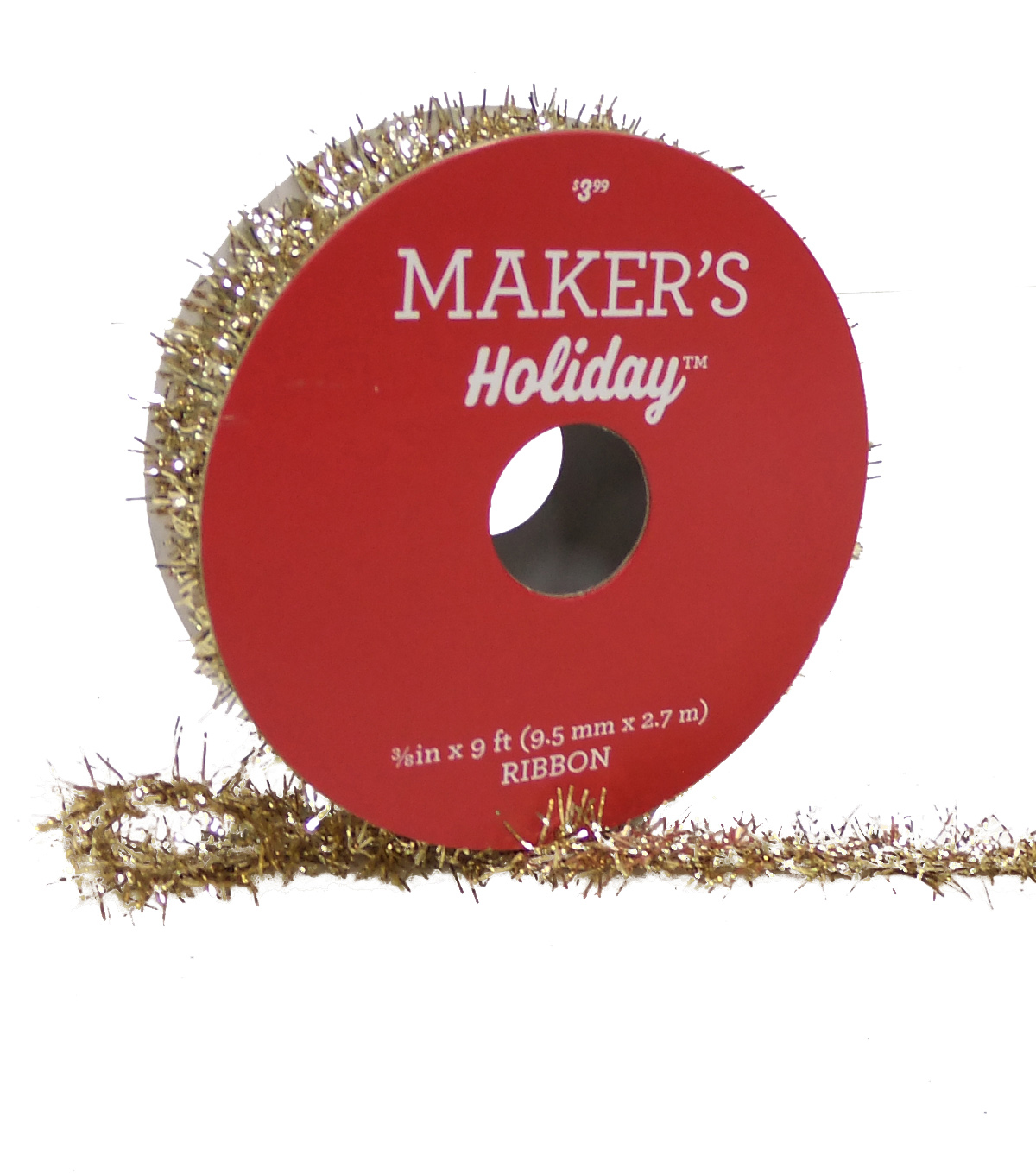Maker's Holiday Christmas Tinsel Ribbon 3/8''X9'-Champagne