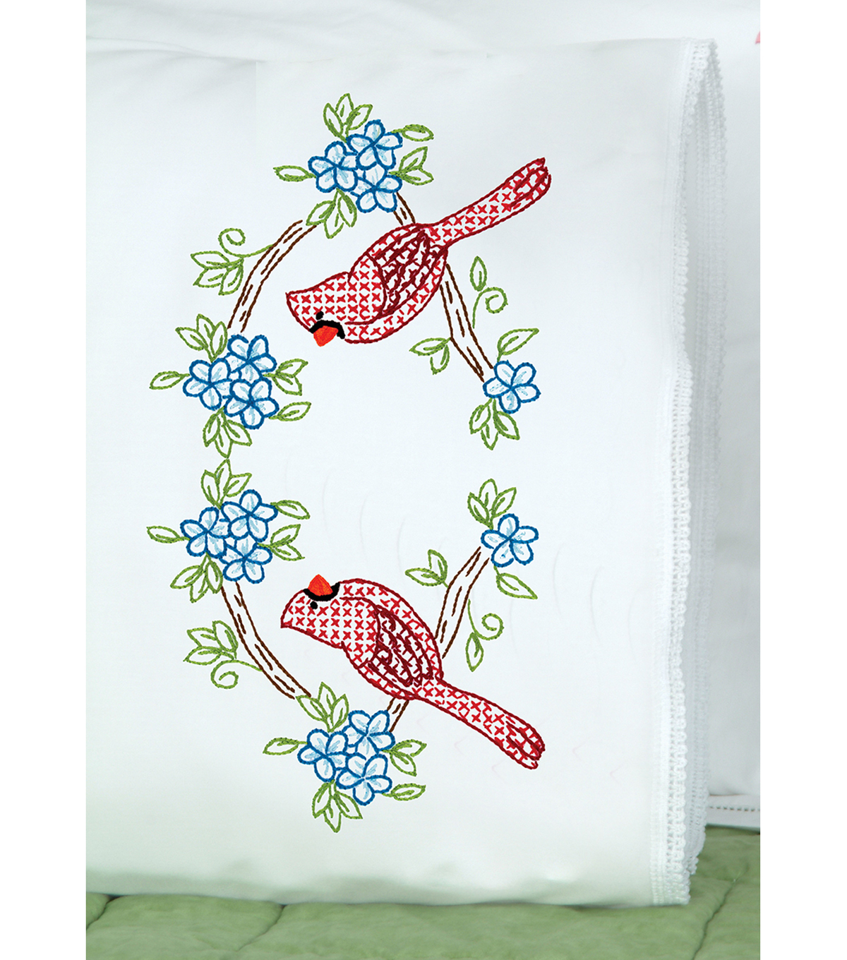 Stamped Pillowcases W/White Lace Edge 2 Pack-Cardinal