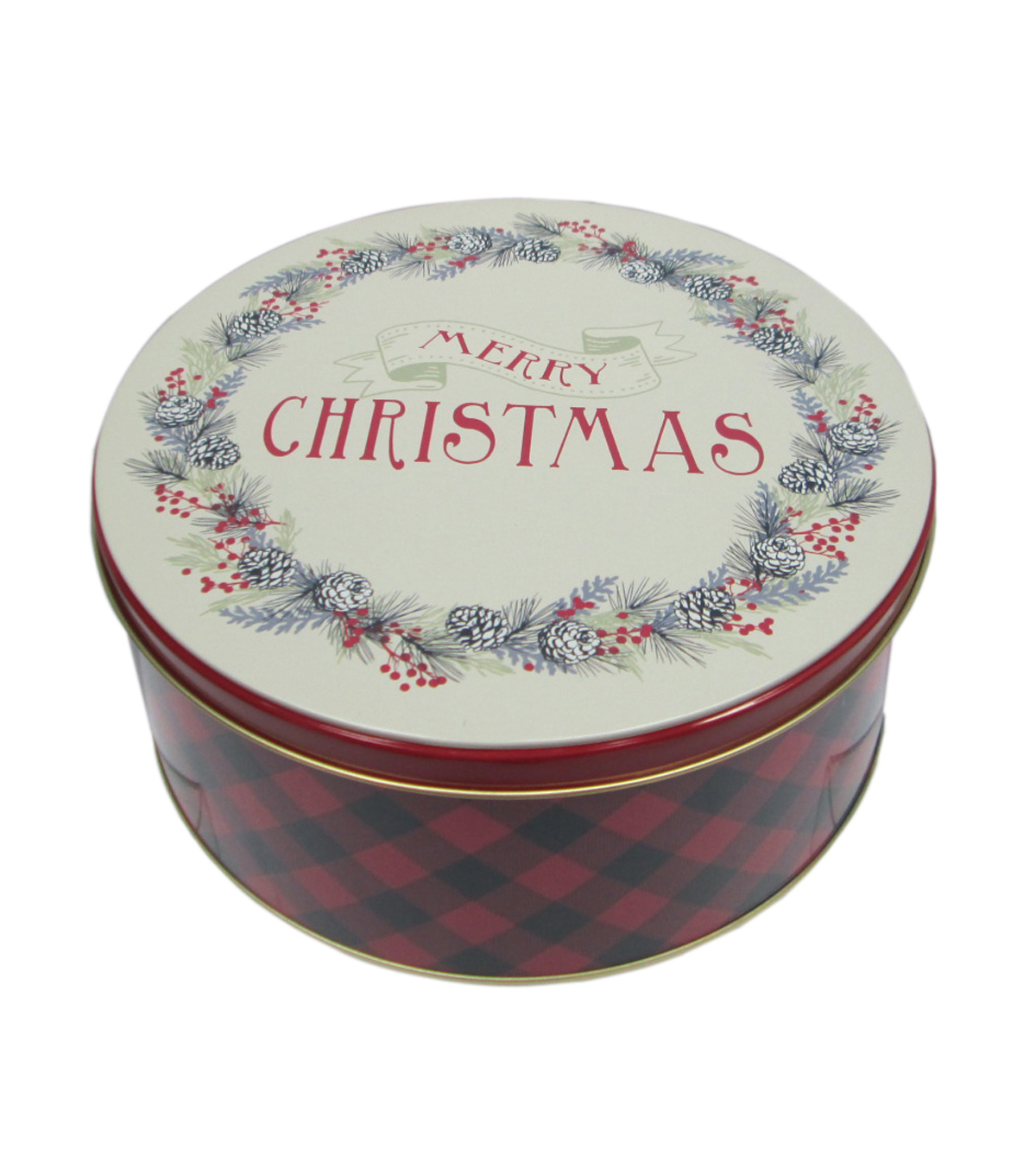 Maker\u0027s Holiday Medium Round Cookie Tin-Merry Christmas