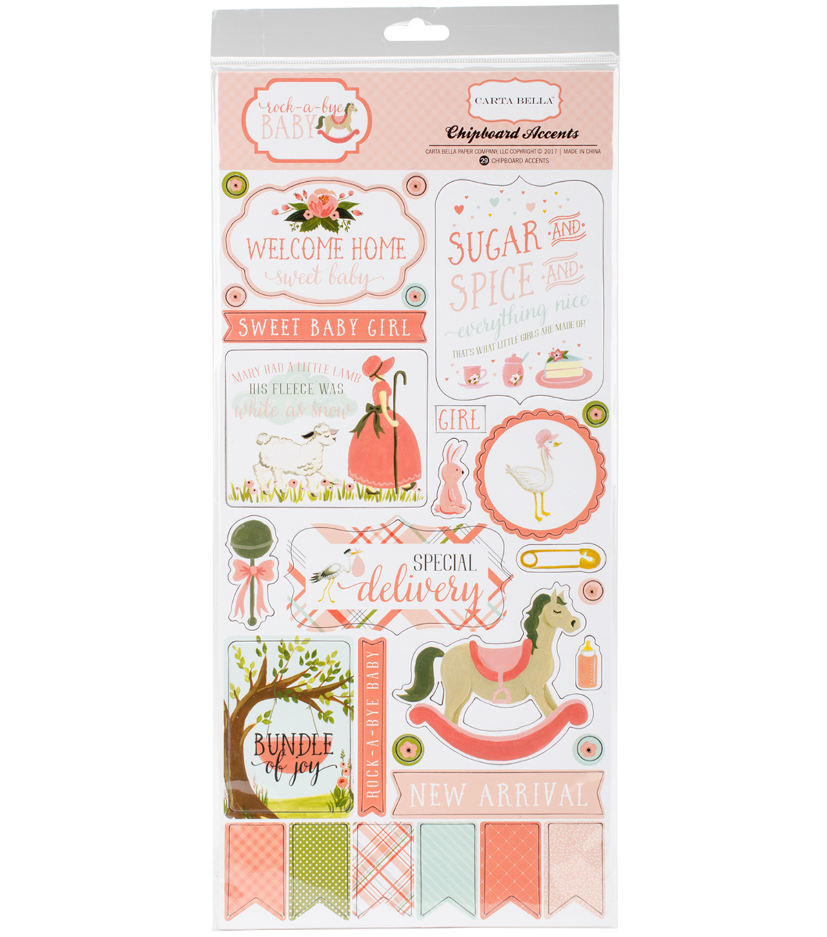 "Rock-A-Bye Baby Girl Chipboard Accents 6""X13"""