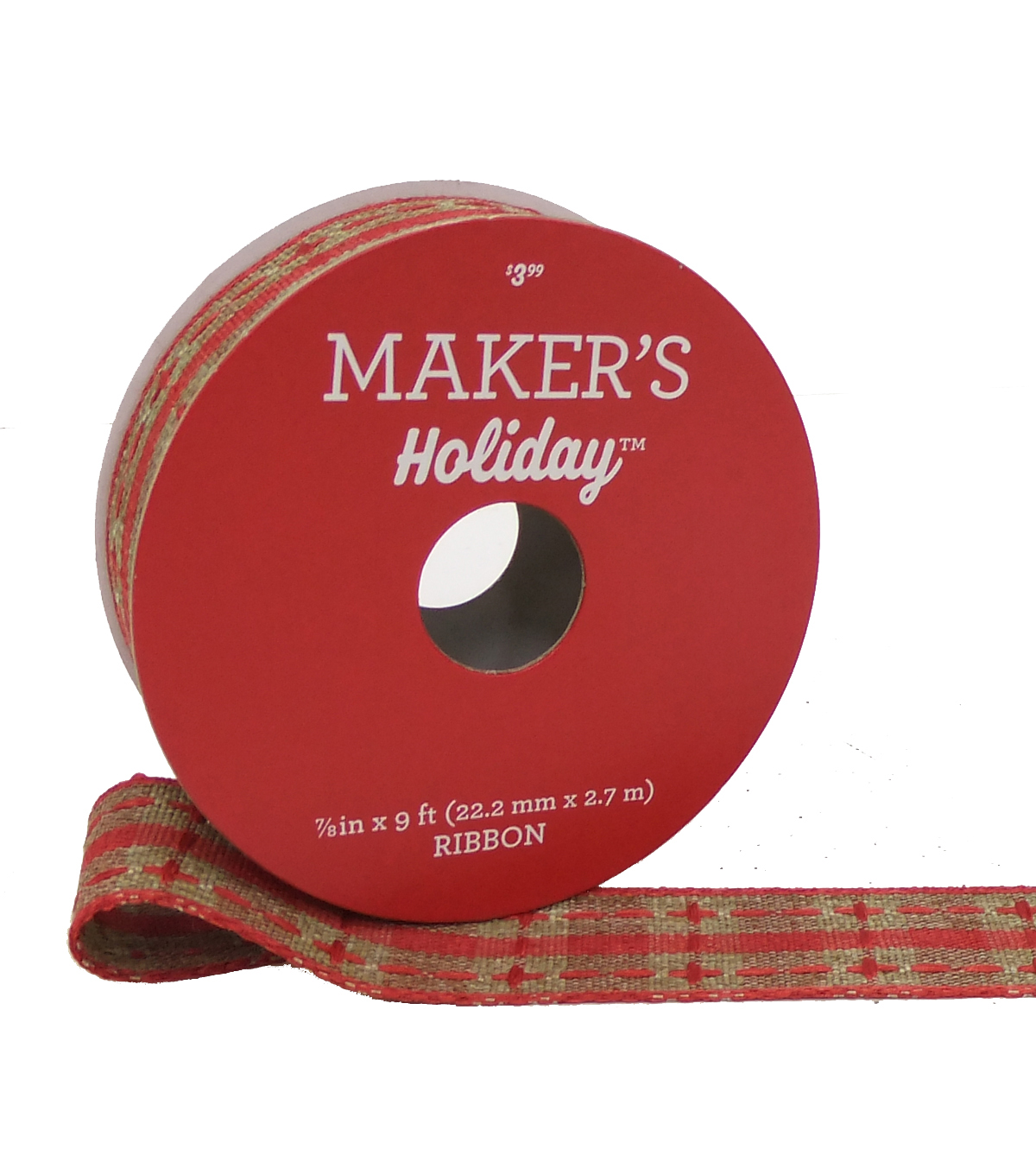 Maker\u0027s Holiday Christmas Ribbon 7/8\u0027\u0027X9\u0027-Natural & Red Plaid