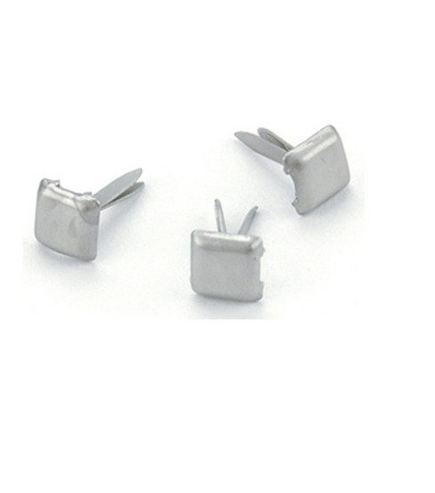 Mini Metal Square Paper Fasteners-100PK/Pewter
