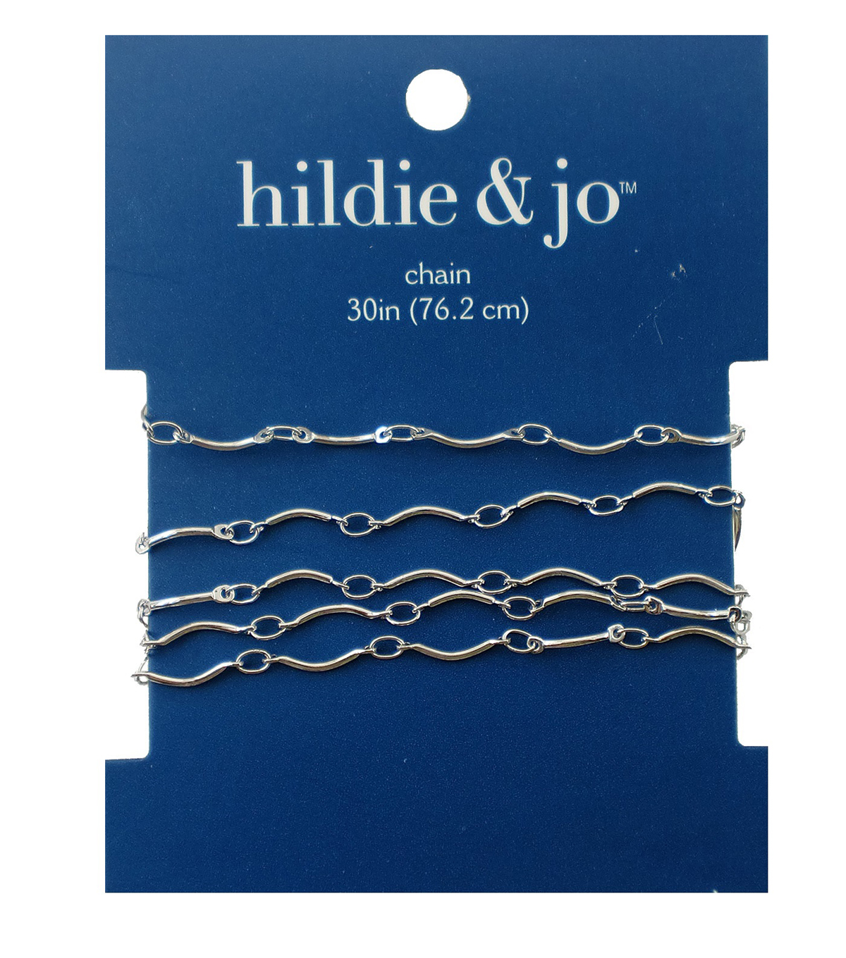Blue Moon Small Wave Link Chain-30\u0022 Silver