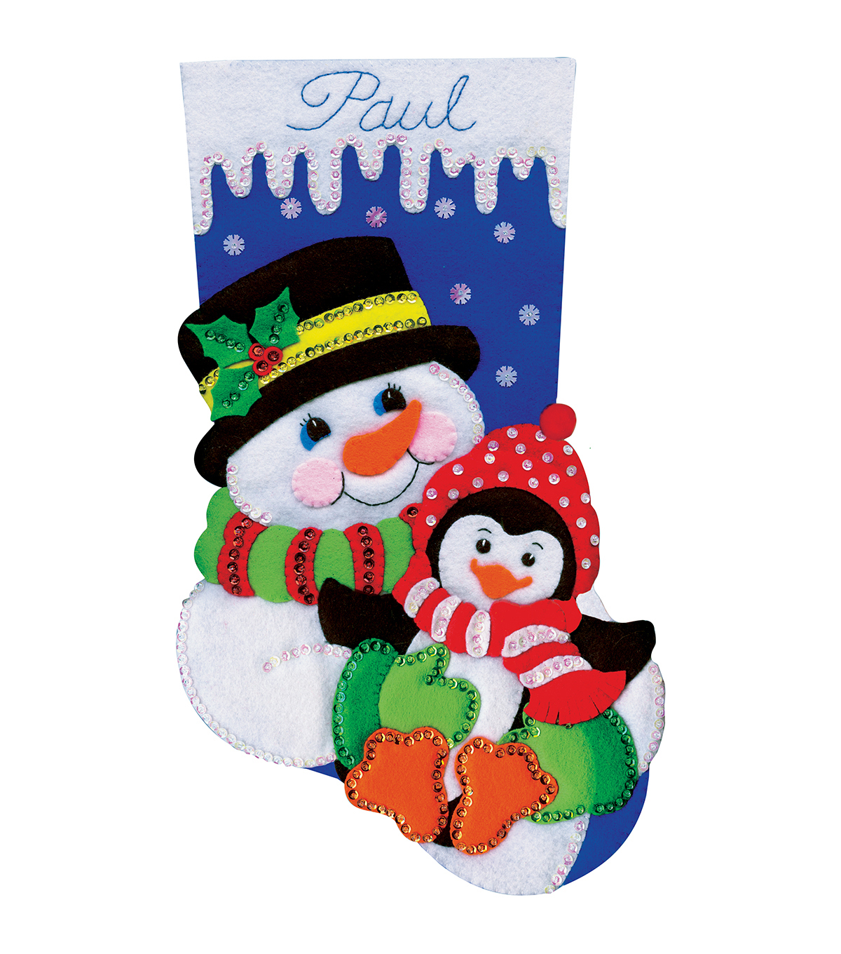 Design Works Snowman And Penguin Stocking Felt Applique Kit