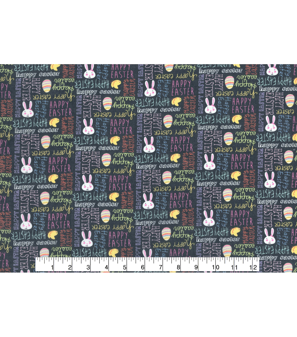 Easter Cotton Fabric 43\u0027\u0027-Gray Happy Easter