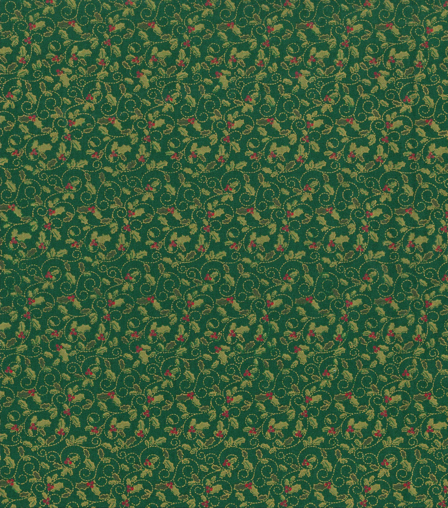 Keepsake Calico™ Holiday Cotton Fabric 43\u0022-Green Metallic Holly