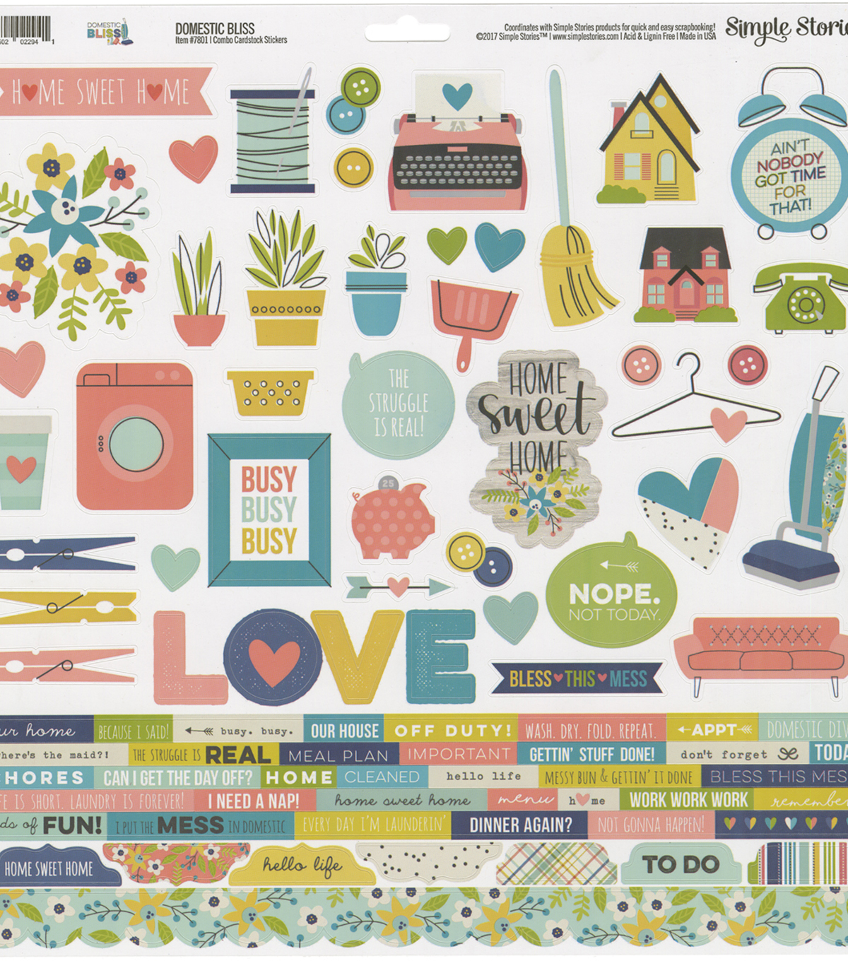 "Domestic Bliss Cardstock Stickers 12""X12""-Combo"