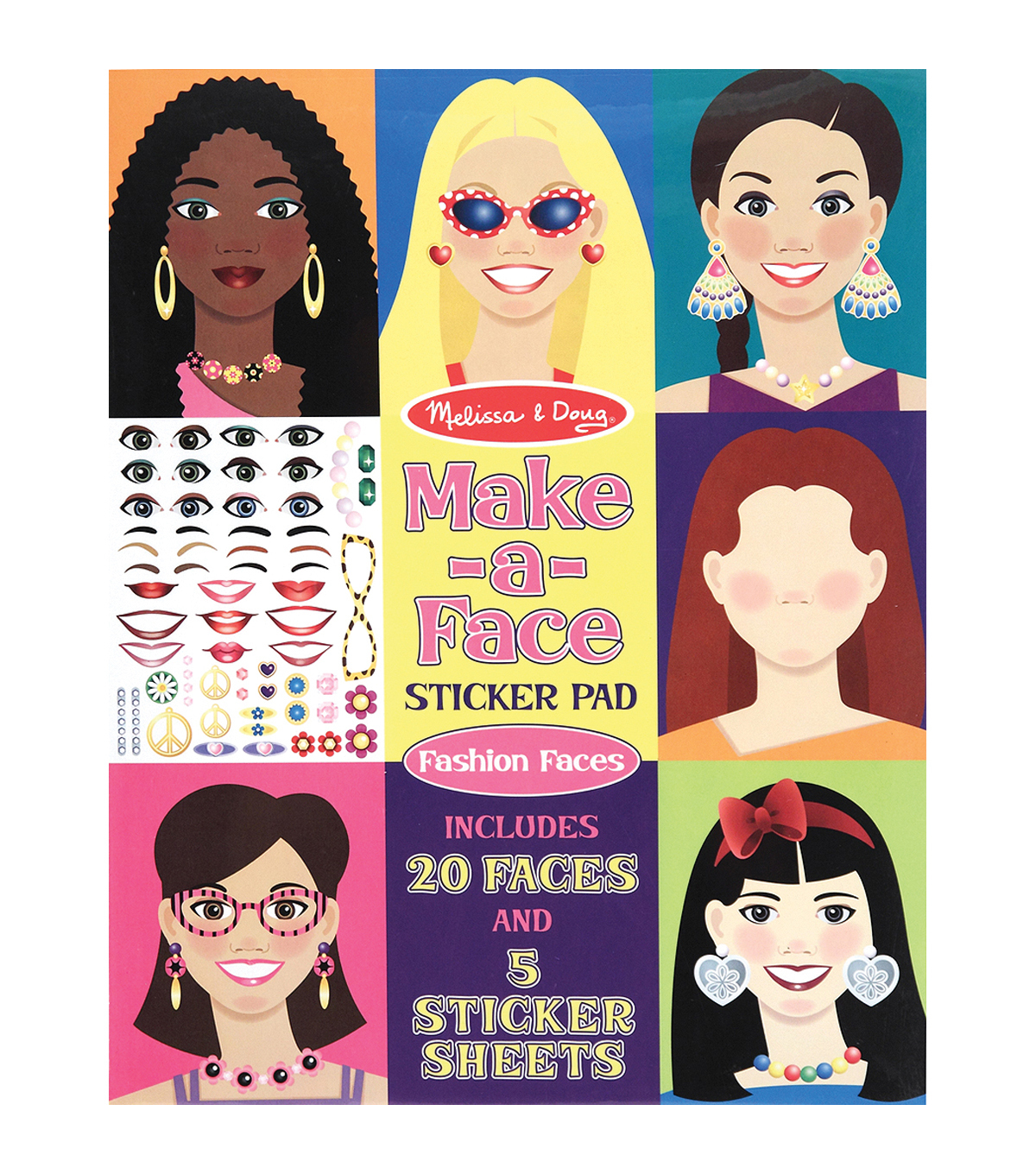 Melissa & Doug Make-a-Face Fashion Faces Sticker Pad