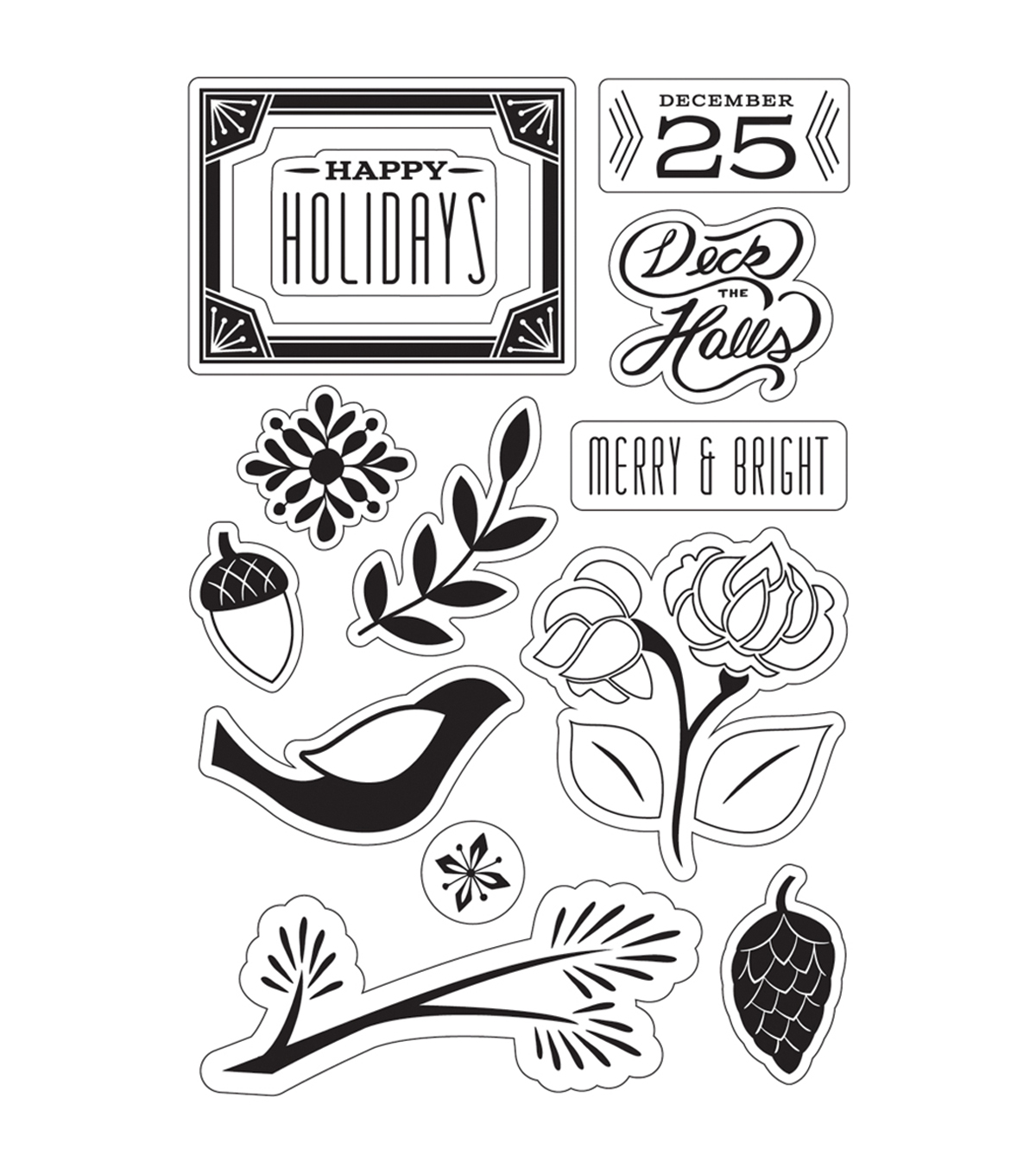 Basic Grey Evergreen Clear Stamps By Hero Arts-Merry & Bright Holidays