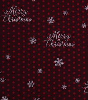 Holiday Showcase™ Christmas Cotton Fabric 43\u0027\u0027-Merry Christmas & Dots on Burgundy