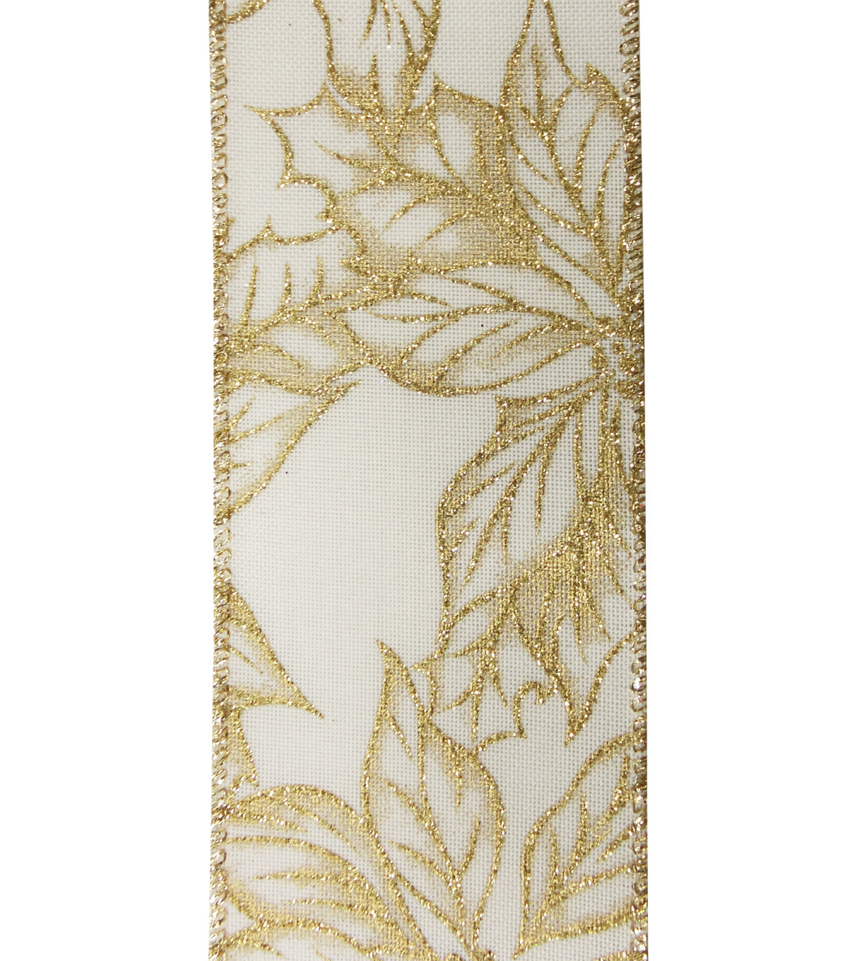 Maker\u0027s Holiday Christmas Ribbon 2.5\u0027\u0027x25\u0027-Gold Poinsettia on Beige