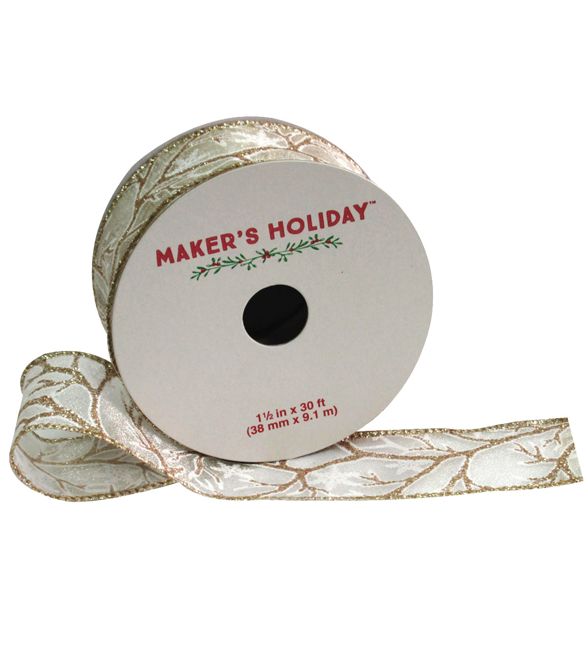 Maker\u0027s Holiday Ribbon 1.5\u0027\u0027x30\u0027-Ivory With Glitter Branch
