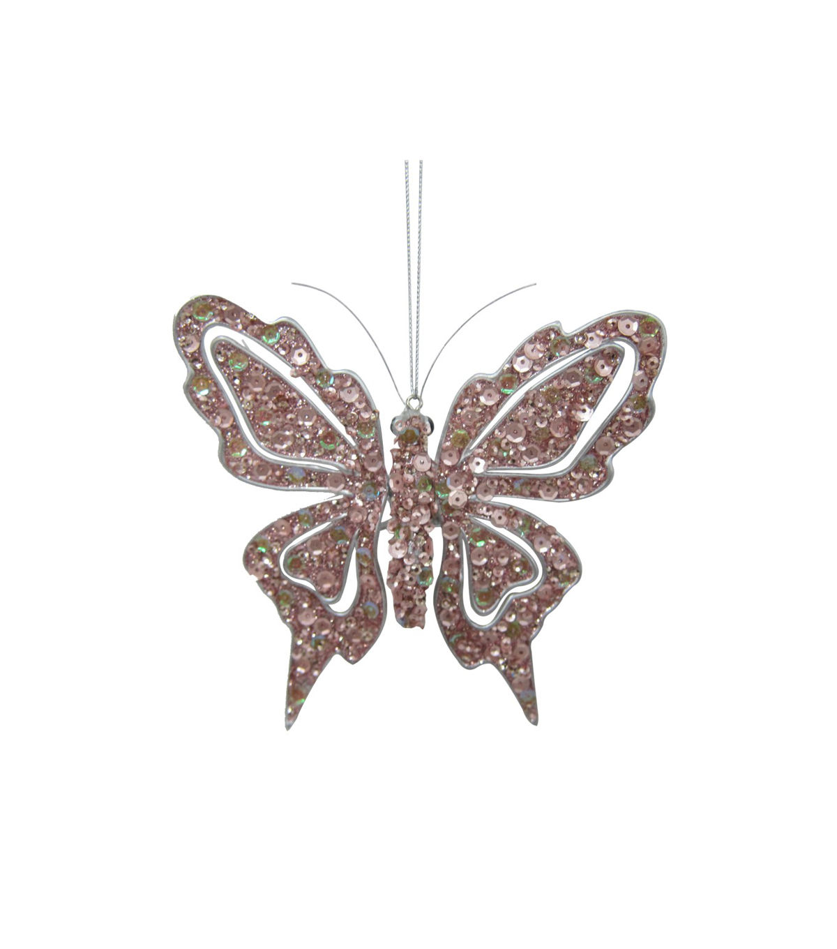 Maker\u0027s Holiday Christmas Holiday Charm Butterfly Ornament-Pink