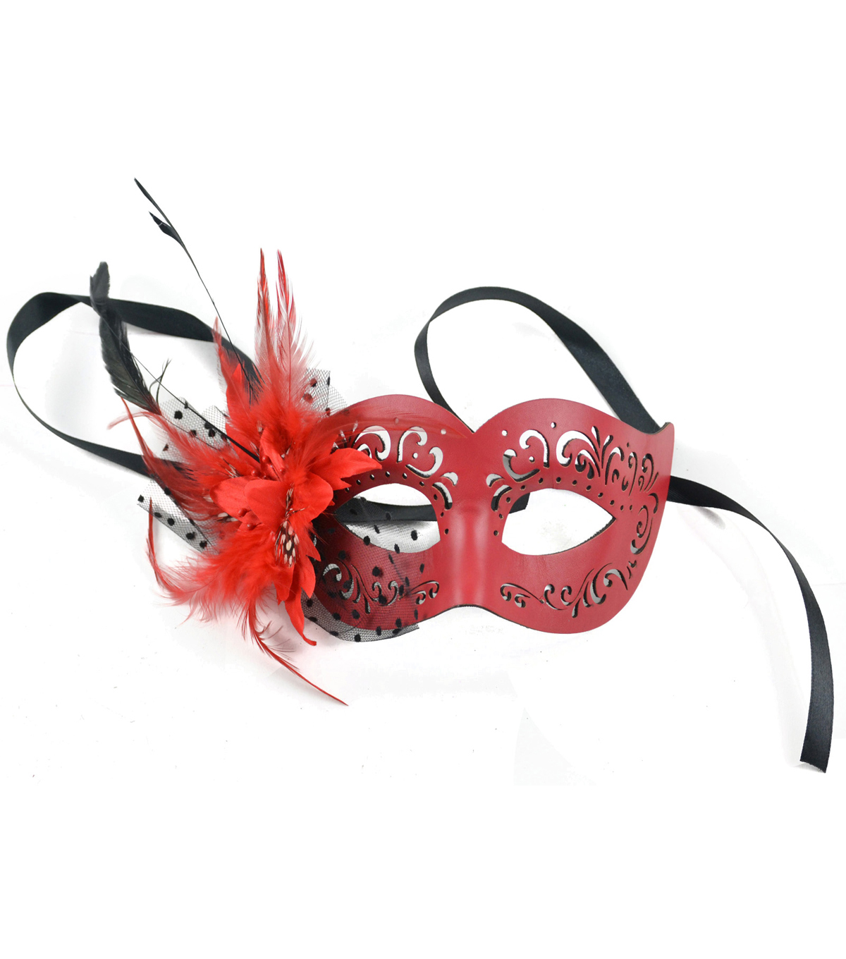 Maker\u0027s Halloween 9\u0027\u0027 Leather Half Mask with Feather & Flower-Red