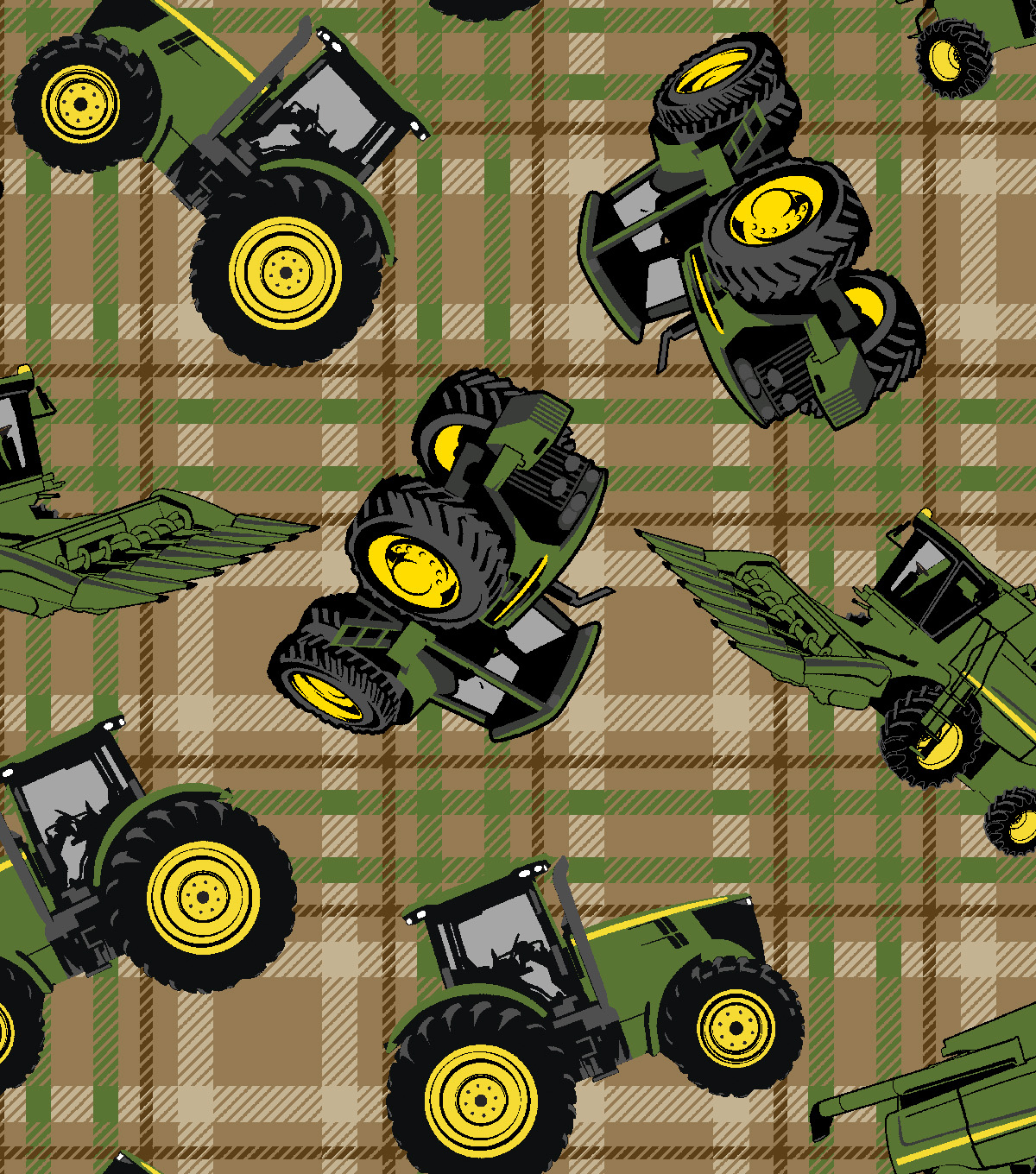 John Deere® Cotton Fabric 43''-Tractors on Plaid