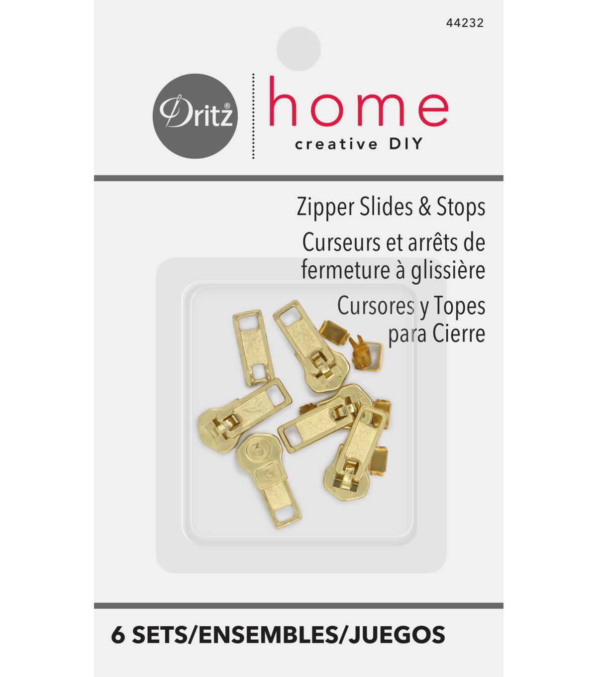 Dritz Home Brass Upholstery Zipper Slides & Stops