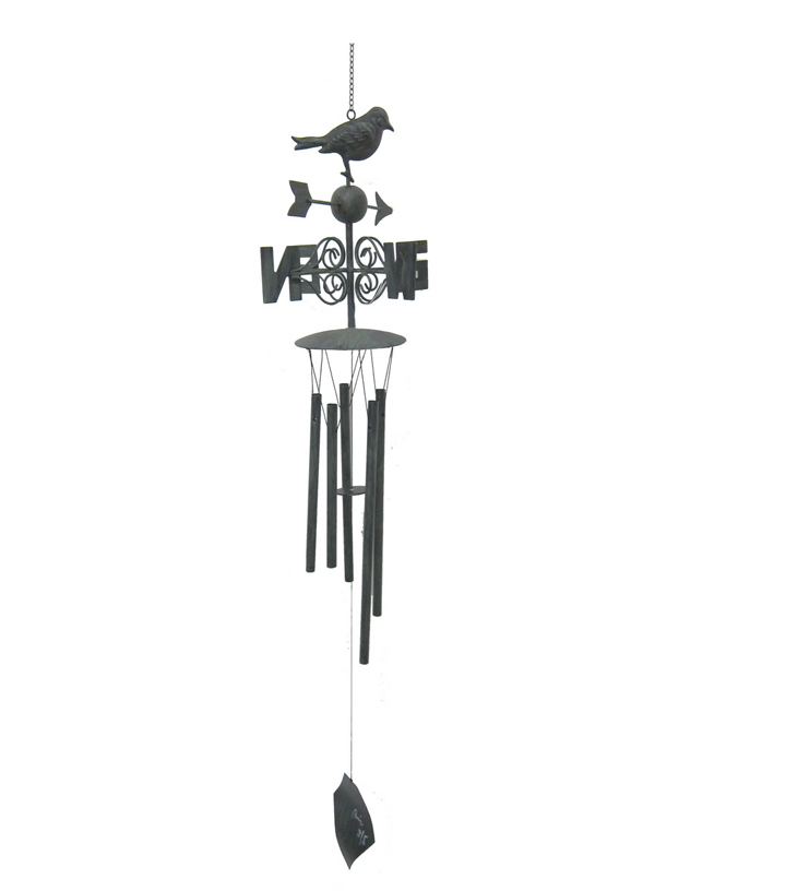 Wild Blooms Metal Directional Wind Chime-Black