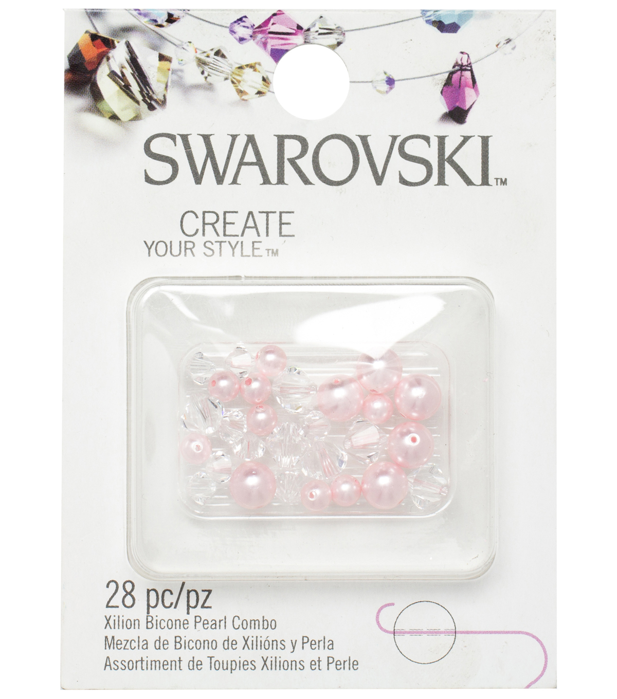 Create Your Style Swarovski Bicone Beads-Pearl Crystal Roseline Mix 28/pk