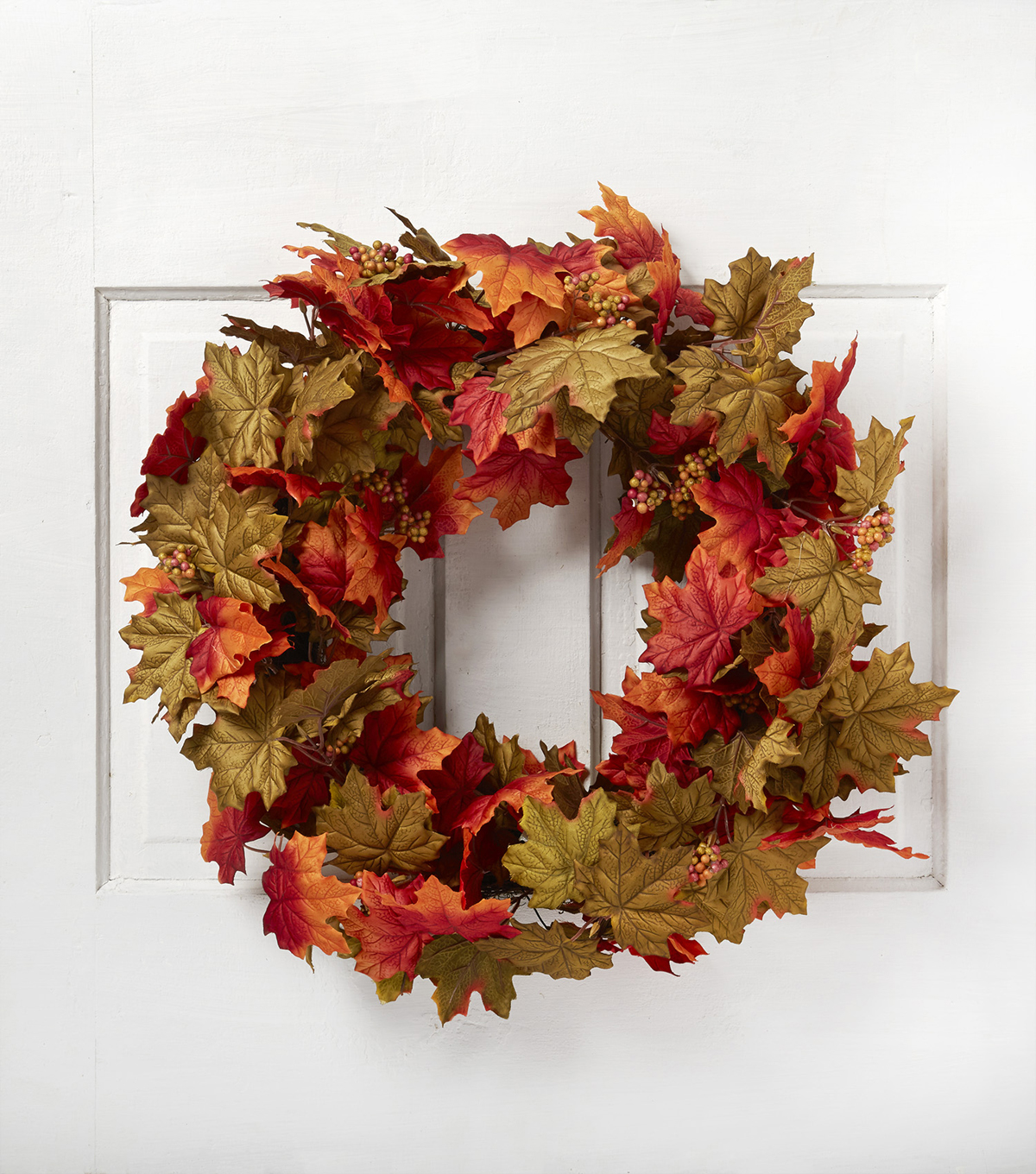 Blooming Autumn 24\u0027\u0027 Maple Leaves Wreath-Orange & Red