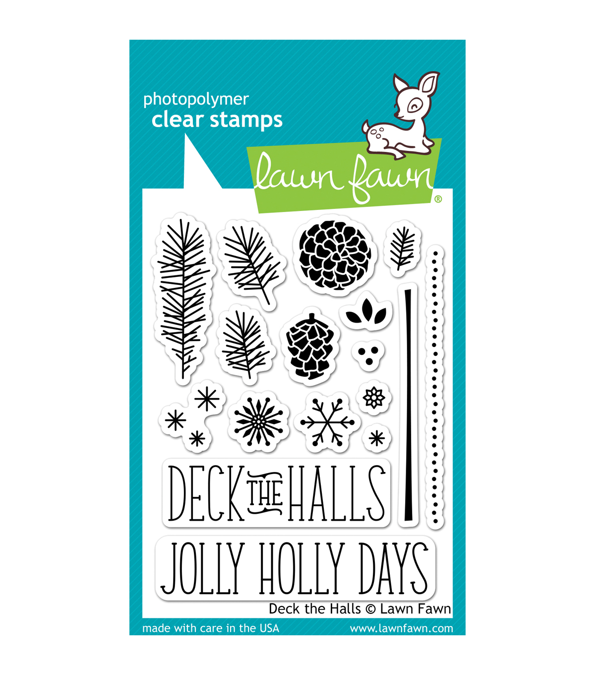 "Lawn Fawn Clear Stamps 3""X4""-Deck The Halls"