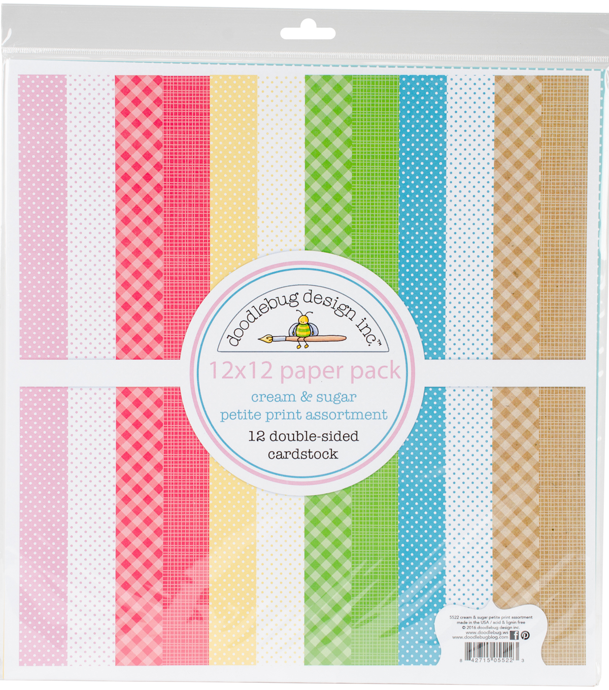 Doodlebug Petite Prints Double-Sided Cardstock 12\u0022X12\u0022-Cream & Sugar