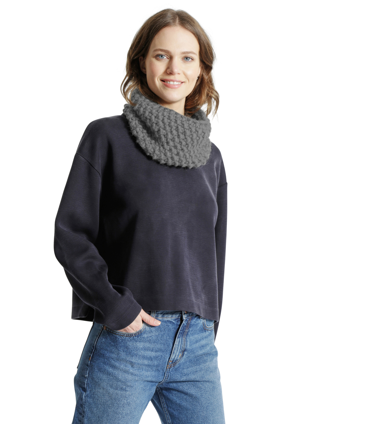 Wool And The Gang \u0027Lil Snood Dogg Knit Kit-Tweed Gray