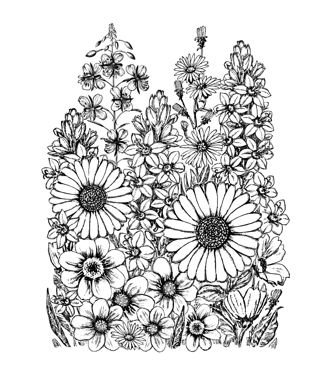 Crafty Individuals Unmounted Rubber Stamp 4.75\u0022X7\u0022 Pkg-A Garden Of Flowers