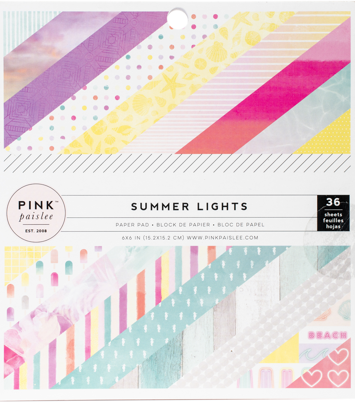 "Pink Paislee Single-Sided Paper Pad 6""X6""-Summer Lights"