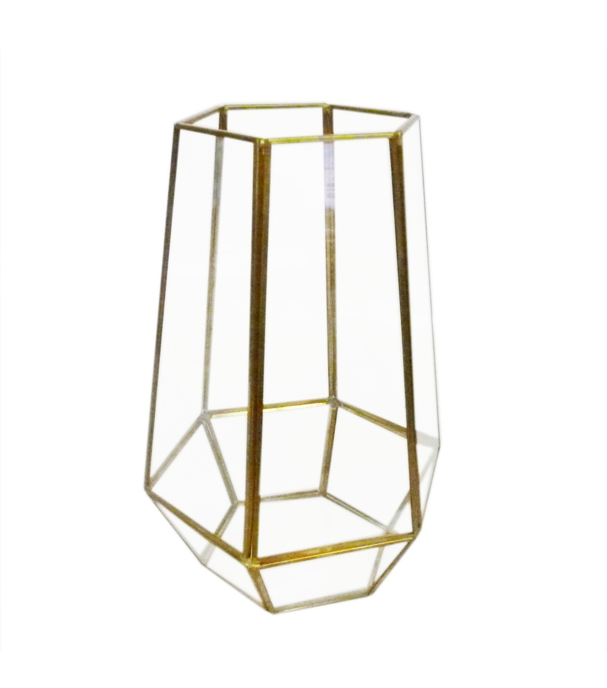Bloom Room Glass & Metal Terrarium-Gold Finish