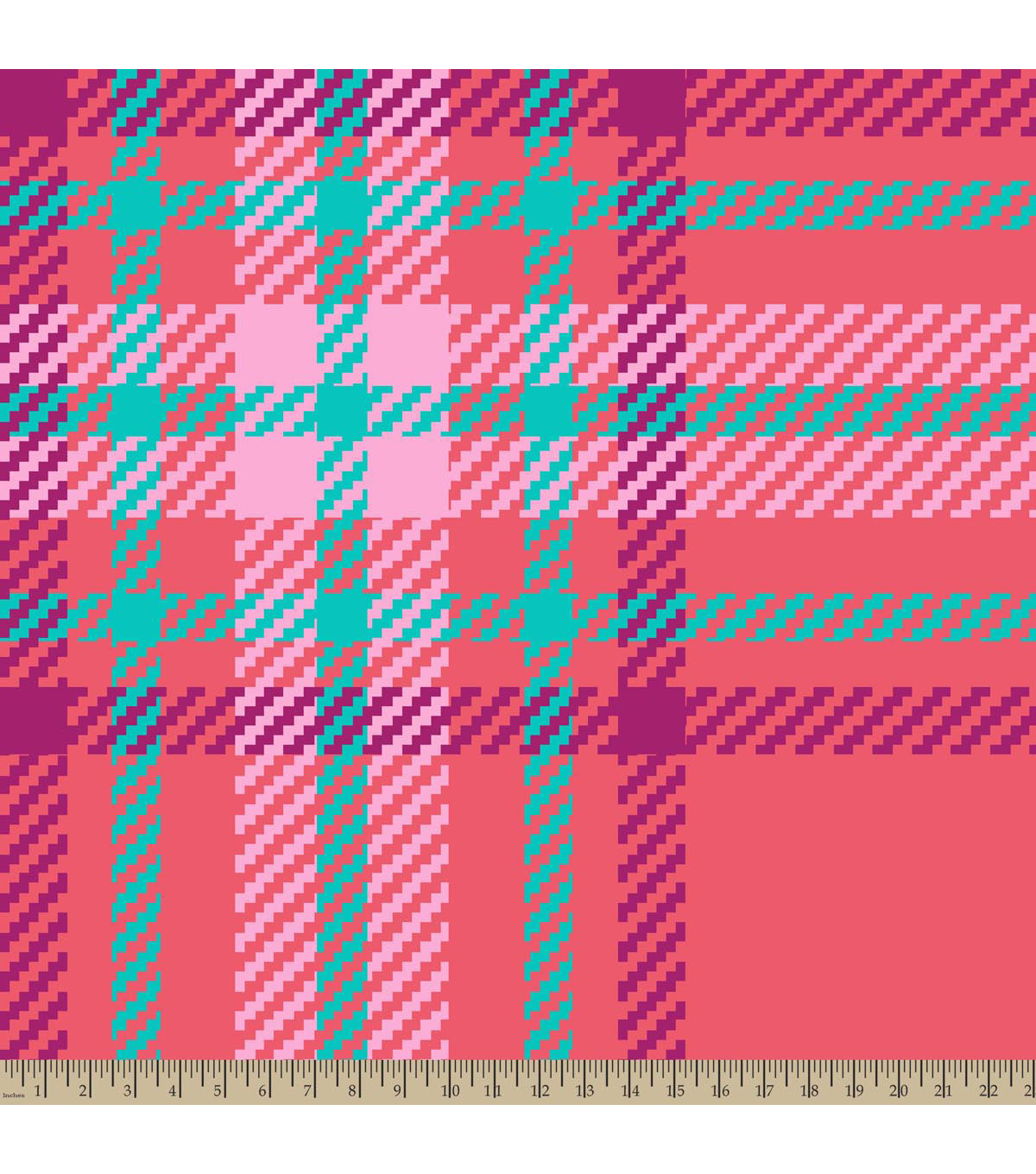 Blizzard Fleece Fabric-Coral Regan Plaid