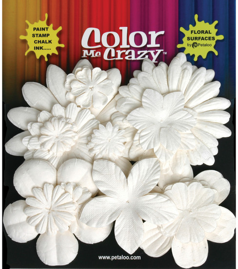 Petaloo Color Me Crazy Flowers-60PK/White