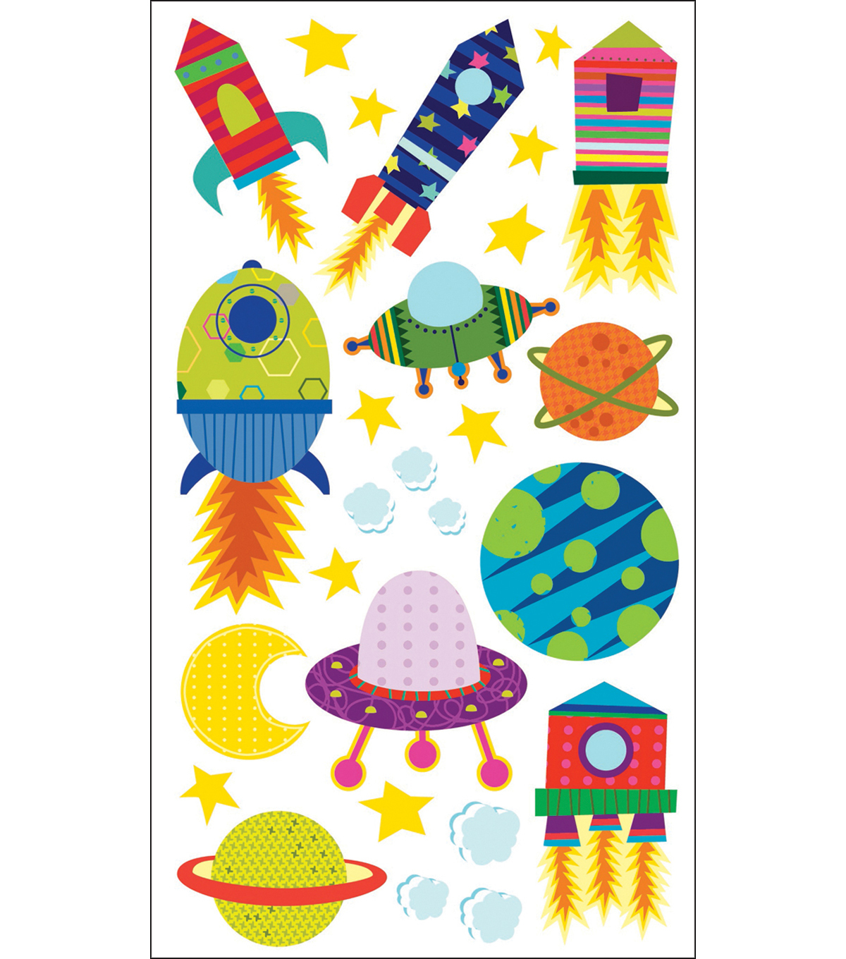 Sticko Sparkler Classic Stickers-Solar System N Rocket Ship