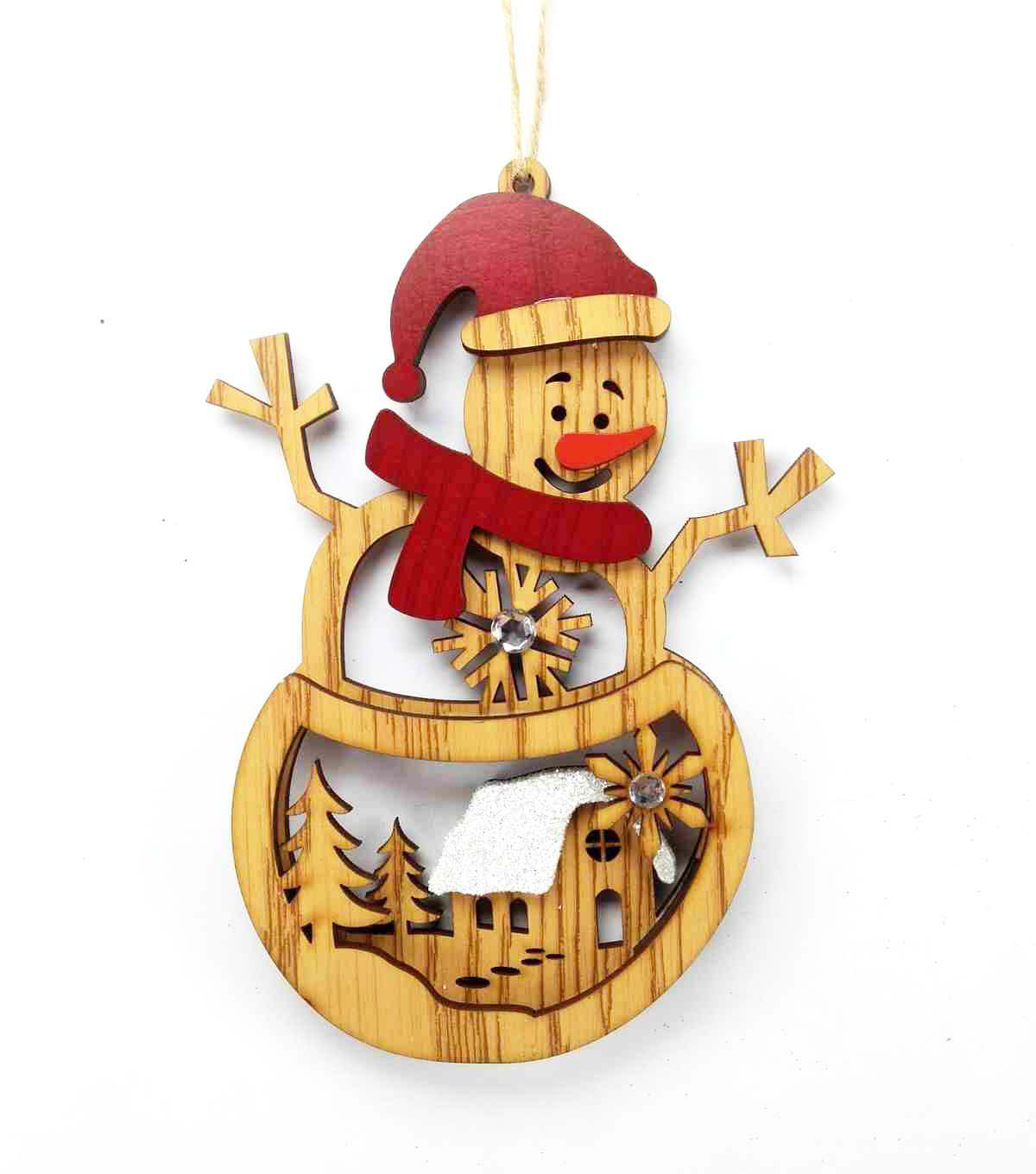Maker\u0027s Holiday Christmas Woodland Lodge Laser Cut Snowman Ornament