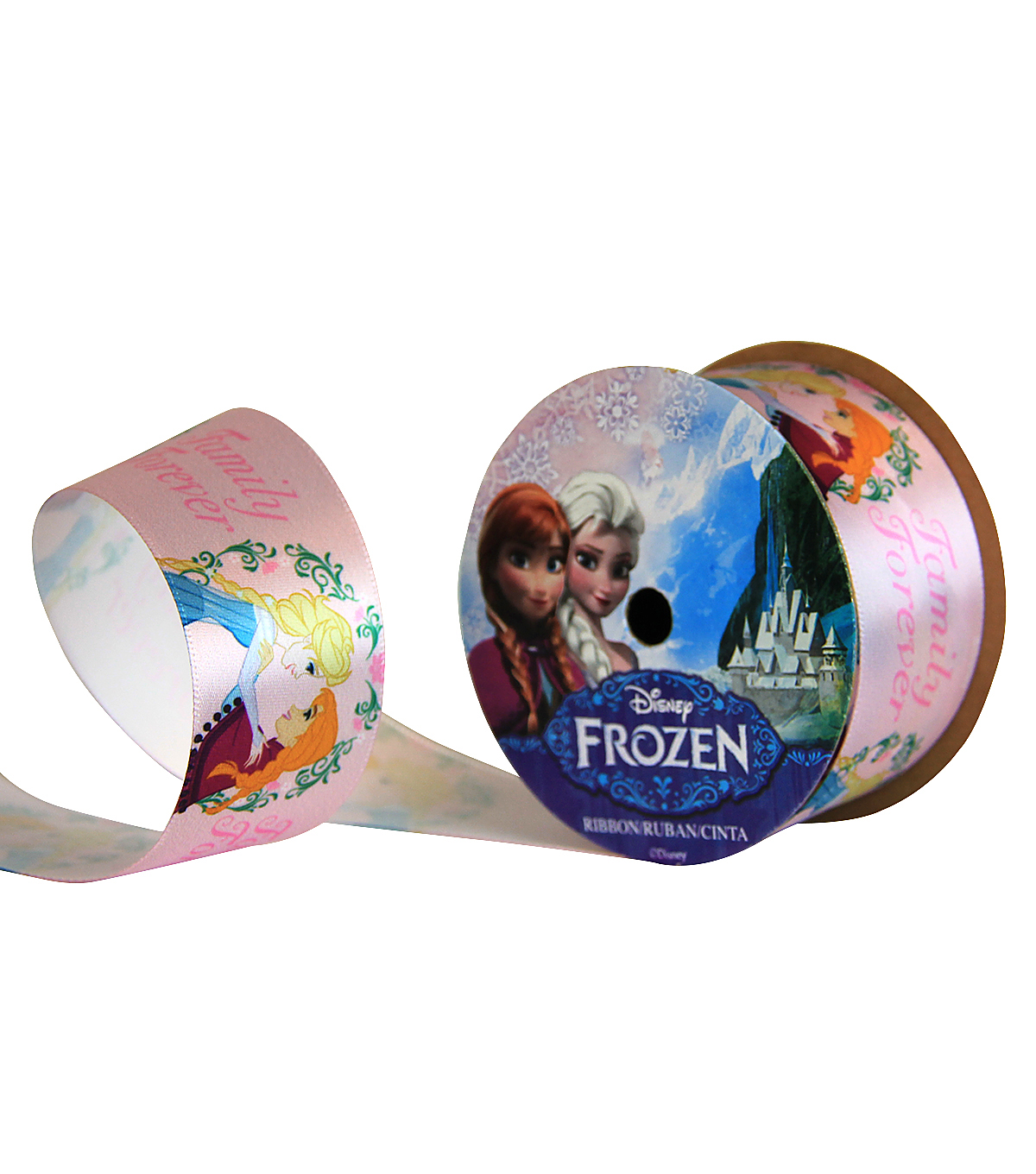 Offray 1.5\u0022x9\u0027 Family Forever Frozen Character Single Faced Satin Ribbon-Pink