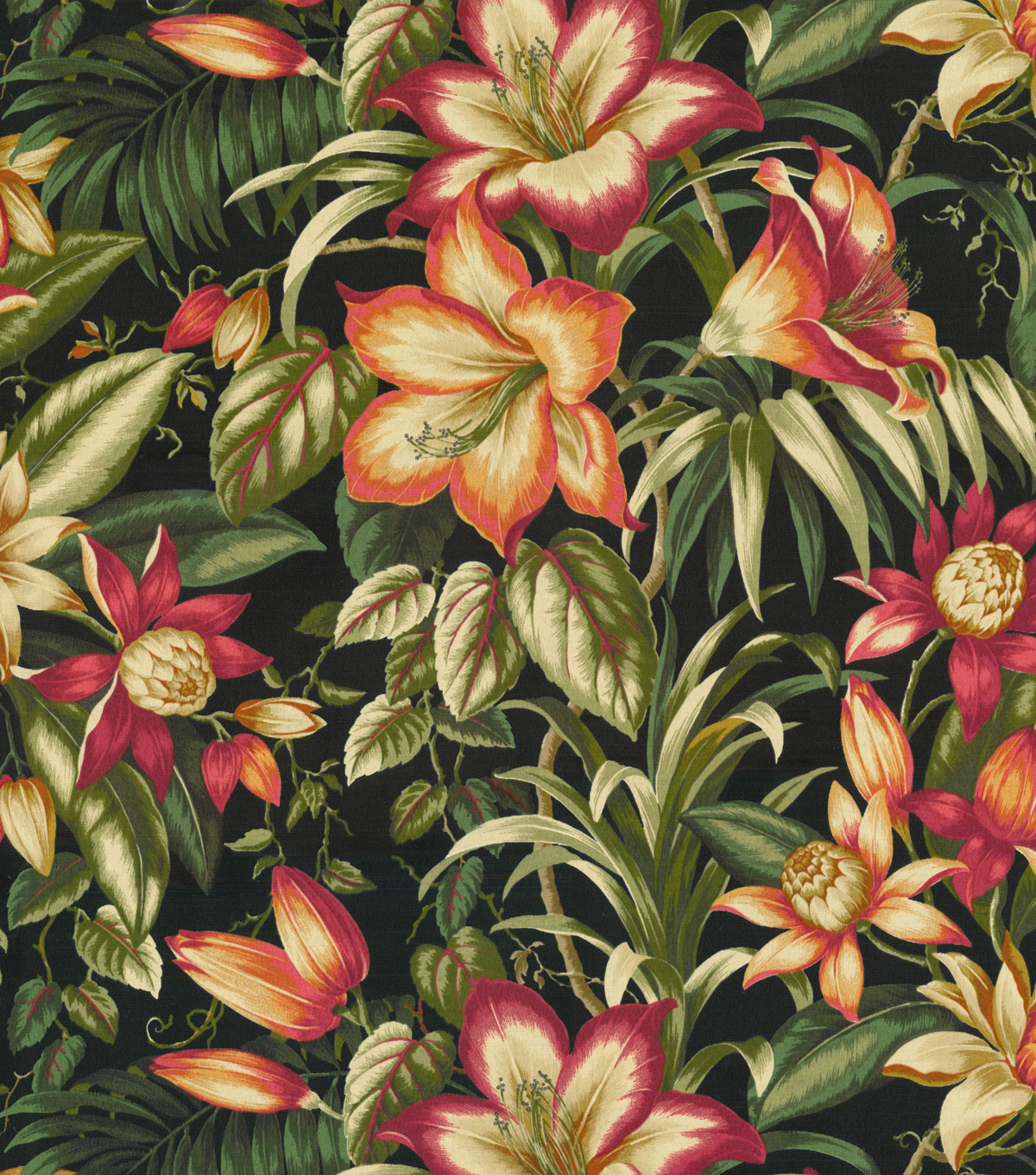 Tommy Bahama Outdoor Fabric 54\u0022-Botanical Glow Ebony