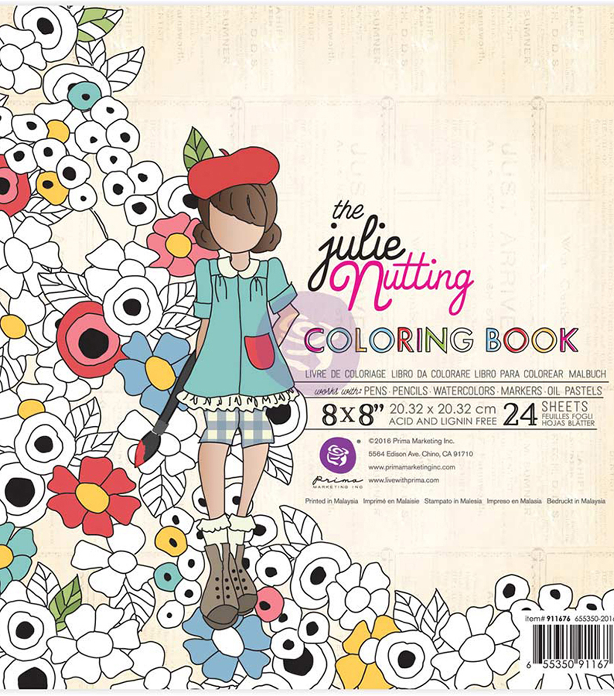 "Coloring Book 24 Sheets 8""X8""-Dolls"