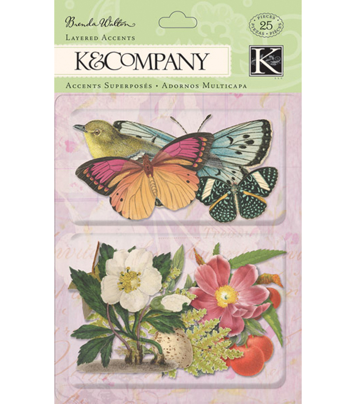 K&Company Flora & Fauna Layered Accents Stickers-Botanical Butterfly