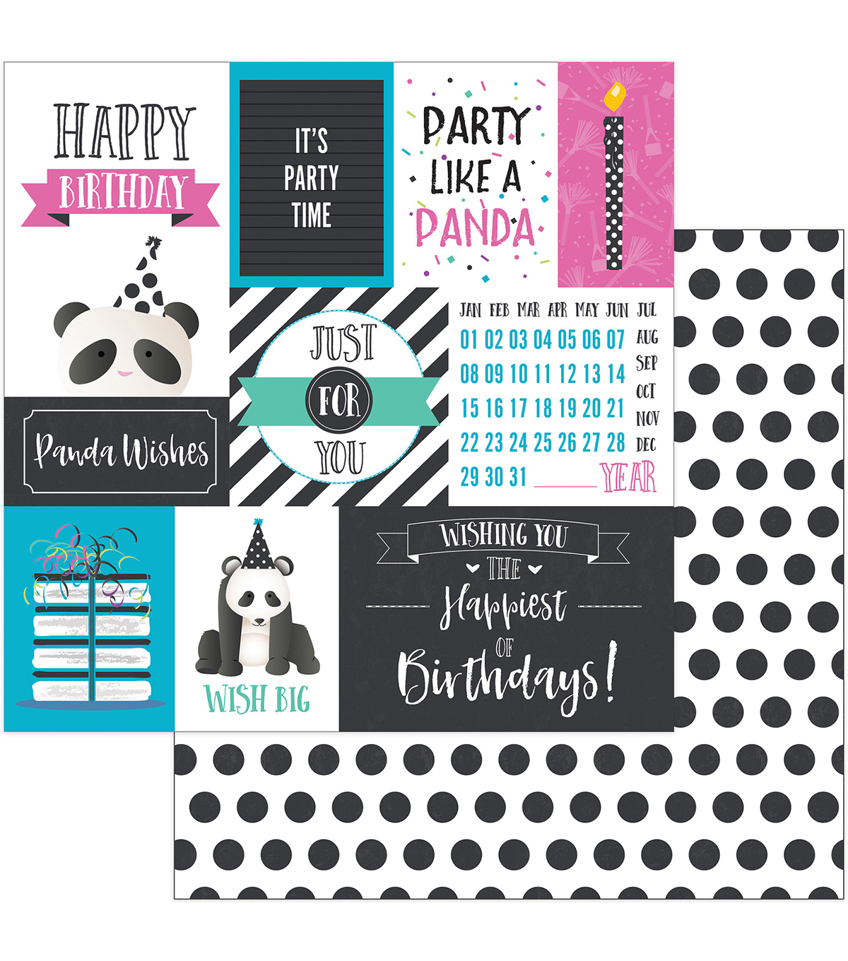 "Cake Panda Party Double-Sided Cardstock 12""X12""-Panda Wishes"