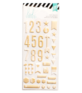 Heidi Swapp 36 Pack Puffy Number Stickers-Gold