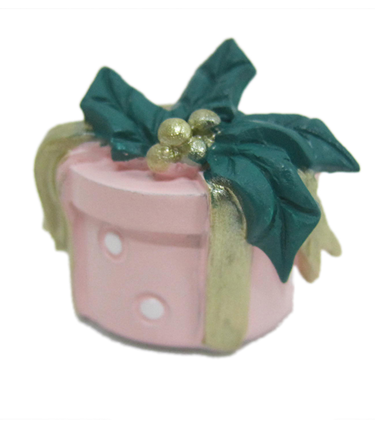 Maker\u0027s Holiday Christmas Littles Resin Gift Box with Bow-Pink & Green