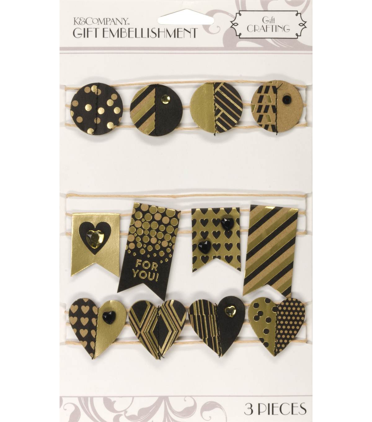 K&Company Black And Gold Banner Gift Embellishment