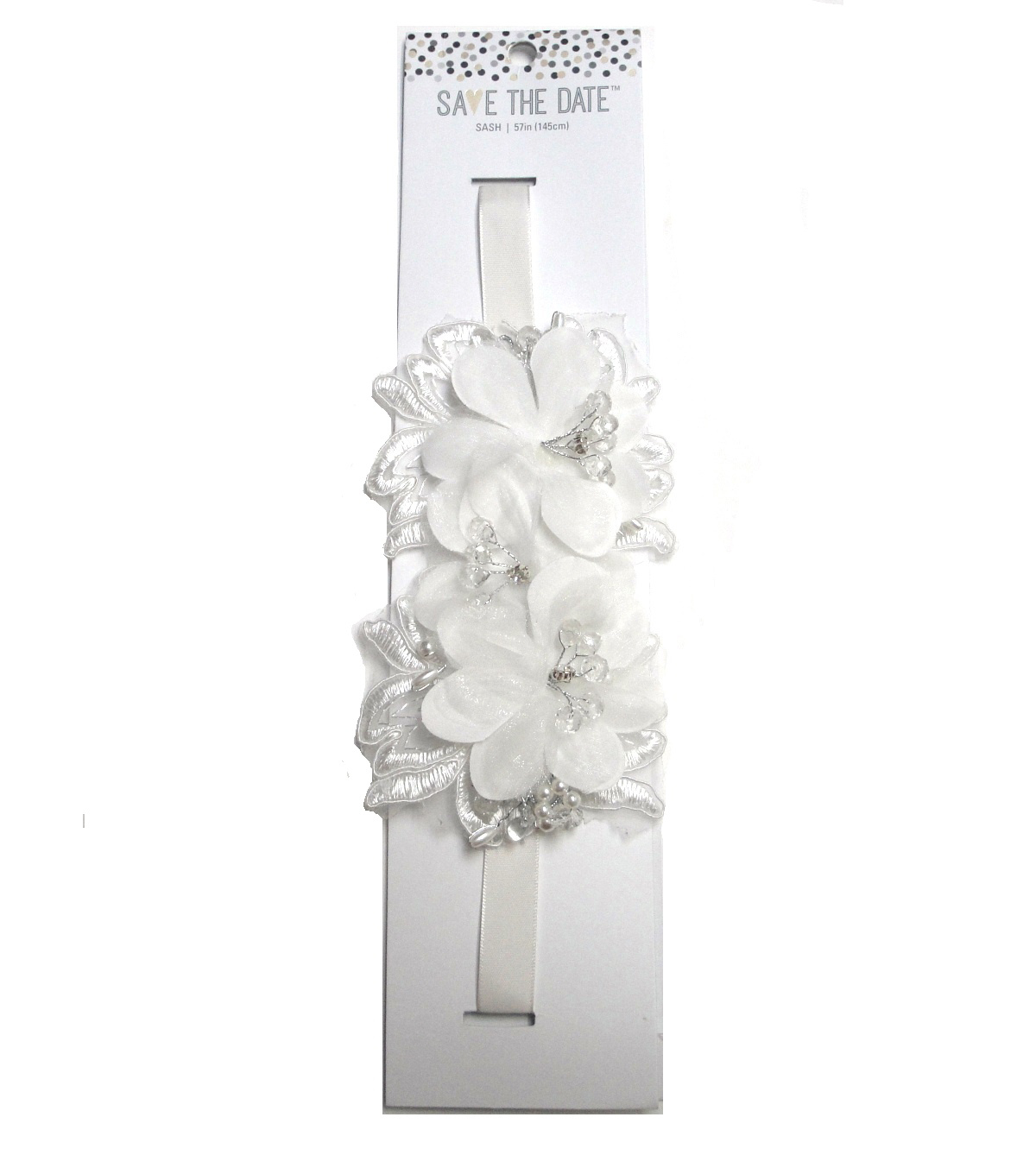 Save The Date™ Floral Ribbon Sash-White