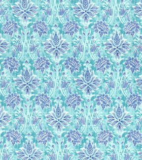 "Asian Inspired Cotton Fabric 43""-Floral Damask Teal"