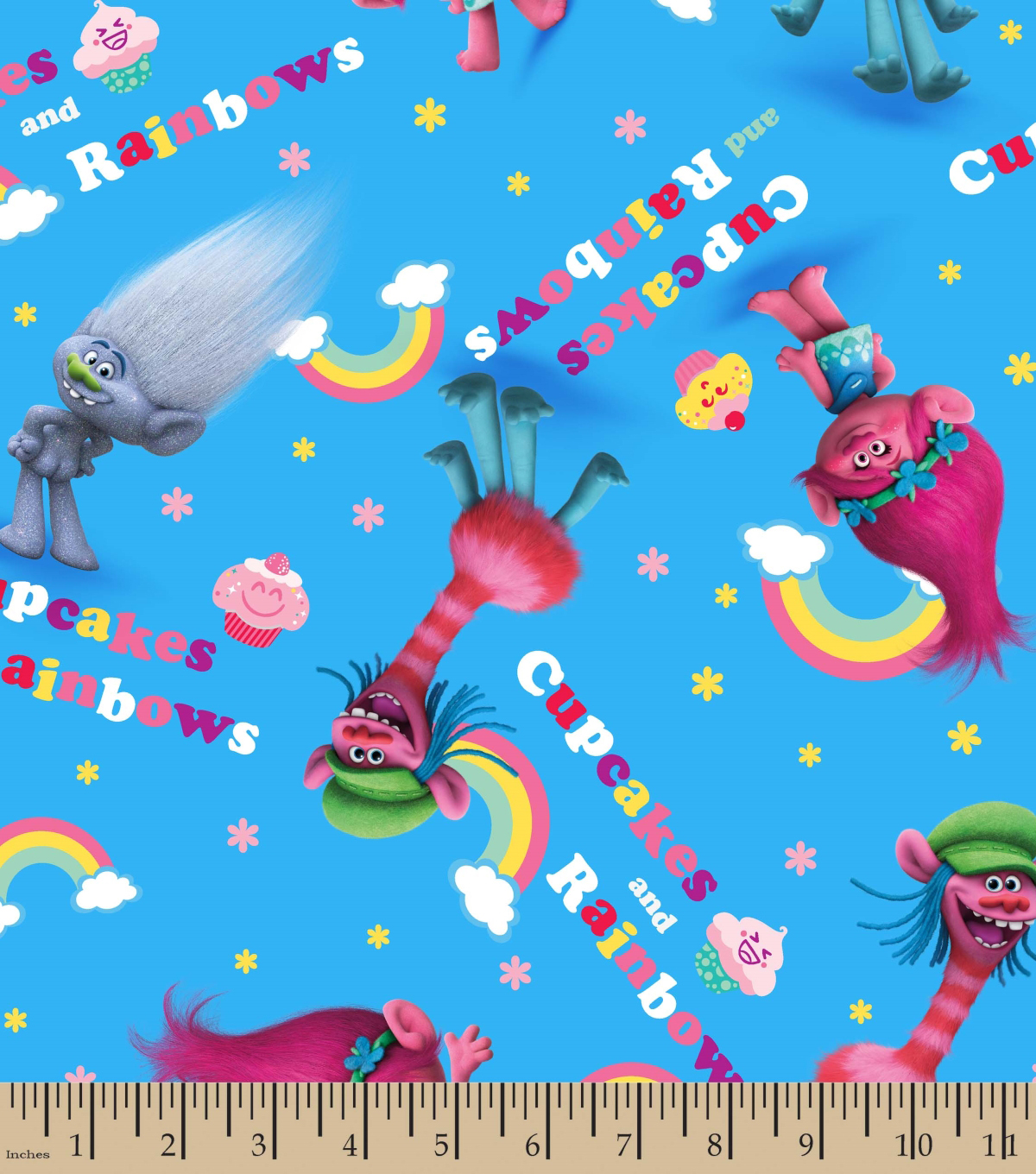DreamWorks Trolls Cotton Fabric 43\u0022-Cupcakes and Rainbows