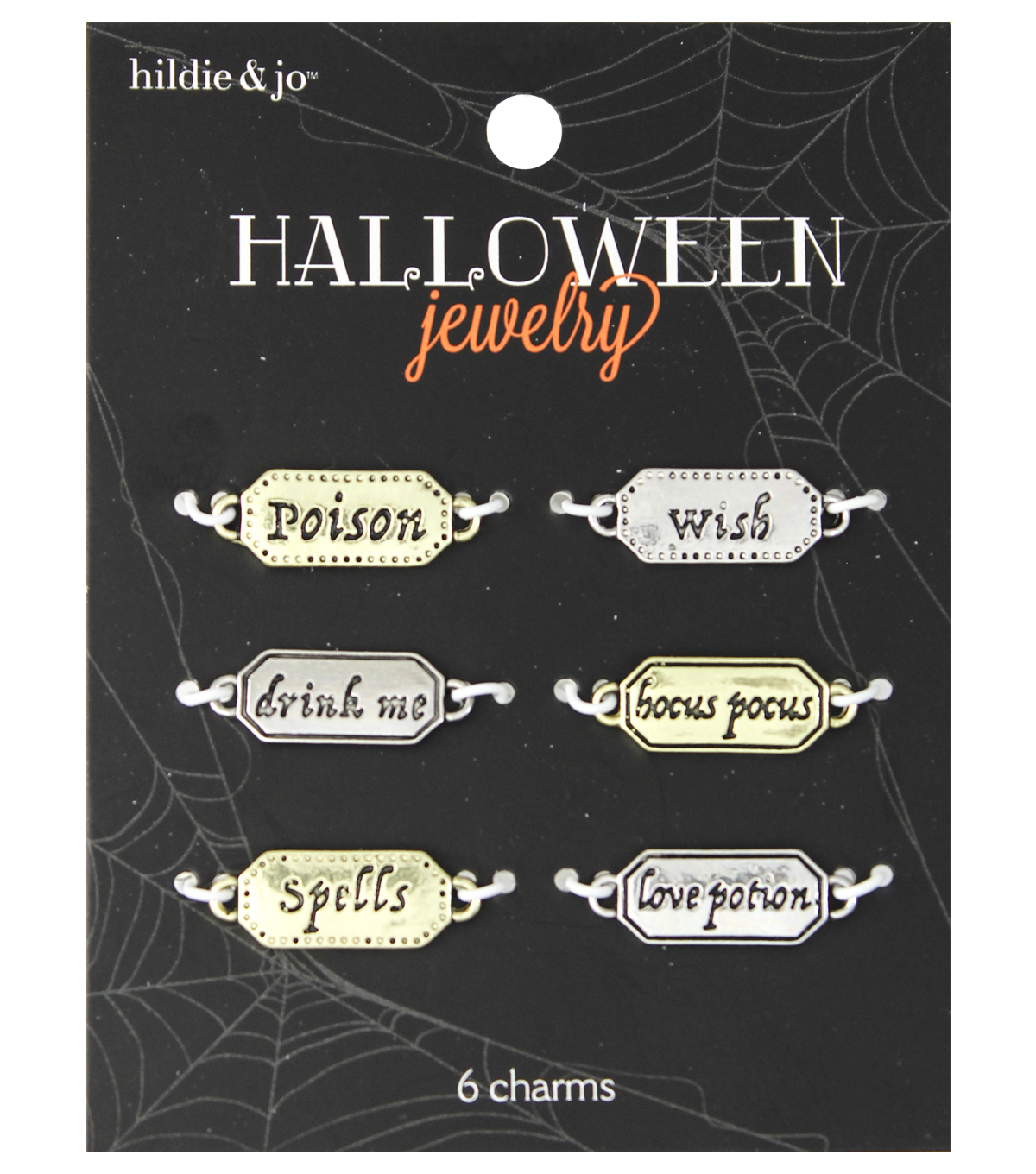 hildie & jo™ Halloween 6 Pack Label Words Charms-Apothecary