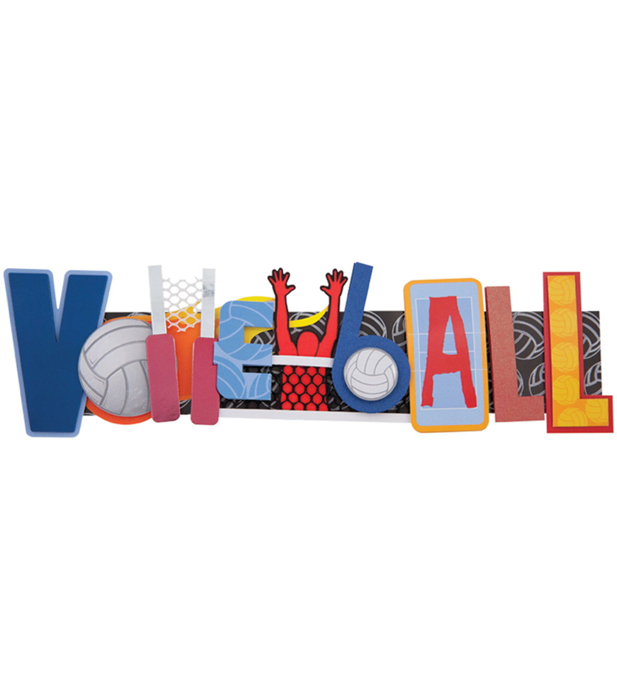 "Karen Foster Volleyball Stacked Statement Sticker 2.5""X9"""