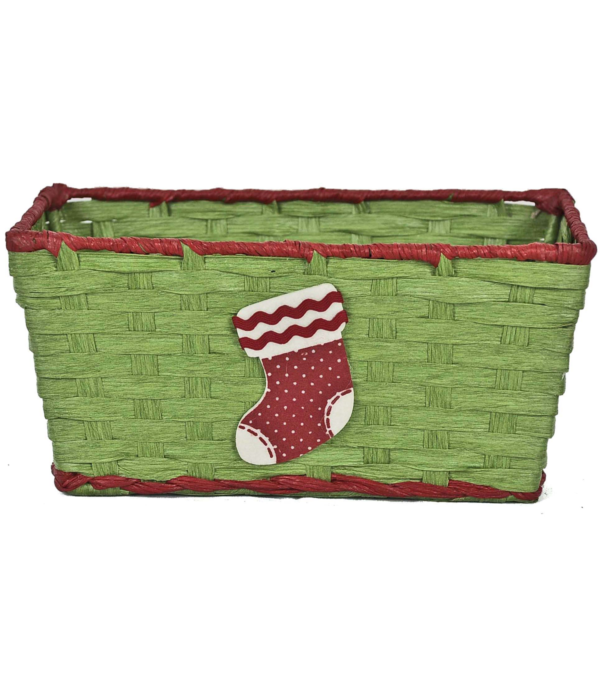 Maker's Holiday Paper Basket-Green With Stocking
