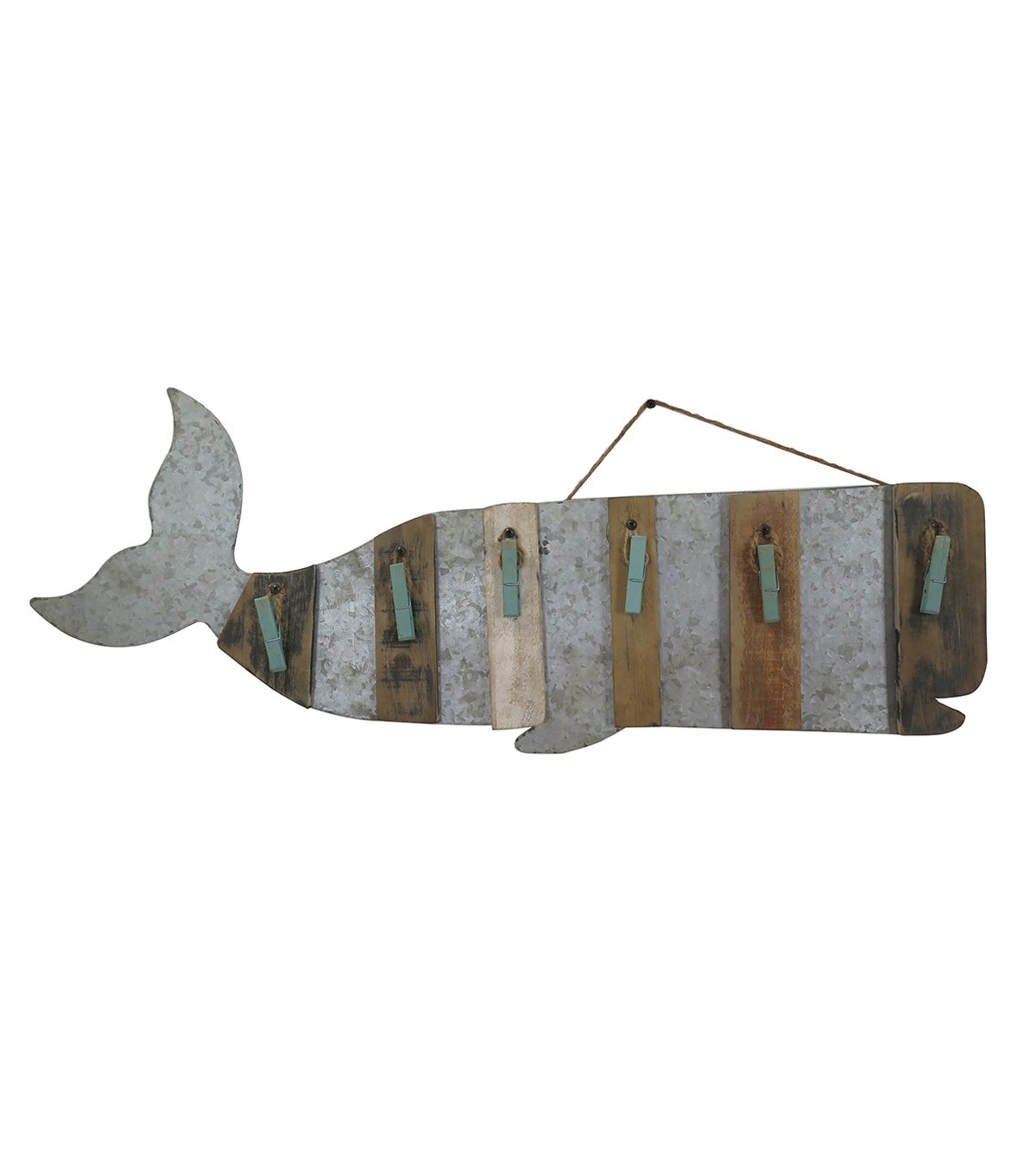 Sea to Sea Wood Whale With Clips Wall Decor