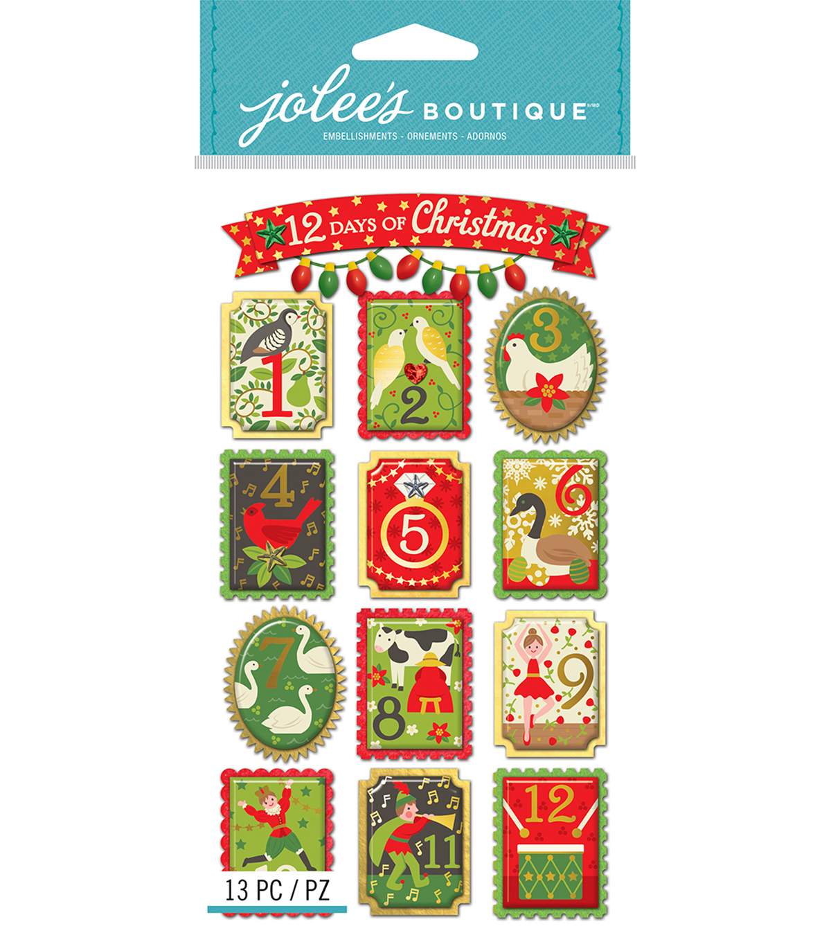 Jolee's Boutique Dimensional Stickers-12 Days Of Christmas