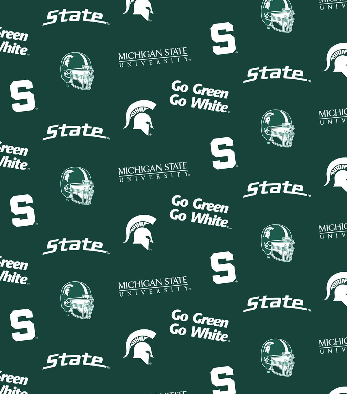 Michigan State University Spartans Cotton Fabric 44\u0022-All Over